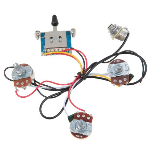 small resolution of details about lefty strat guitar wiring harness 5 way blade switch 500k full size pots