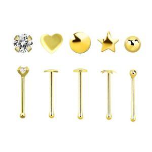 0,6 mm Ø Nasenpiercing, Knochen, Stecker - 9 Karat Gold (goldfarben)