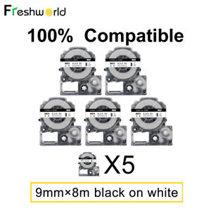 5PK SS9KW Label Maker Tape Compatible with EPSON LK-3WBN