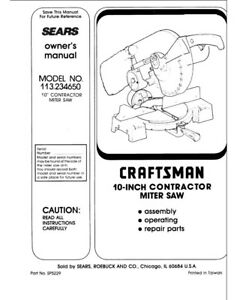 Craftsman 113.234650 Miter Saw Owners Instruction Manual