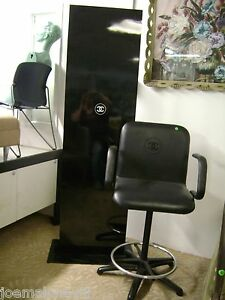 make up chair revolving wing chanel black retail cosmetic makeup swivel stool ebay image is loading