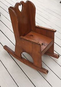 handmade rocking chairs twin size pull out chair vintage child s pine ebay image is loading 039