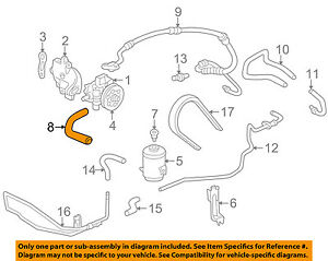 honda power steering diagram vauxhall astra g wiring oem 98 02 accord suction hose 53731s84a00 image is loading
