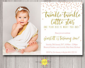 details about printable girls birthday photo invitation twinkle twinkle little star any age