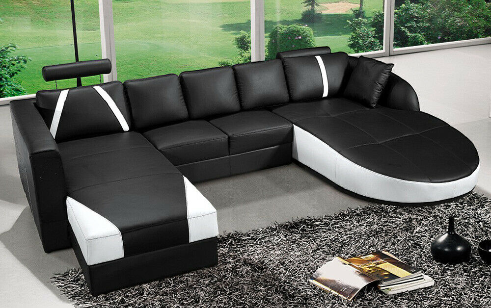 ultra contemporary top grain black white leather sectional sofa w curved chaise