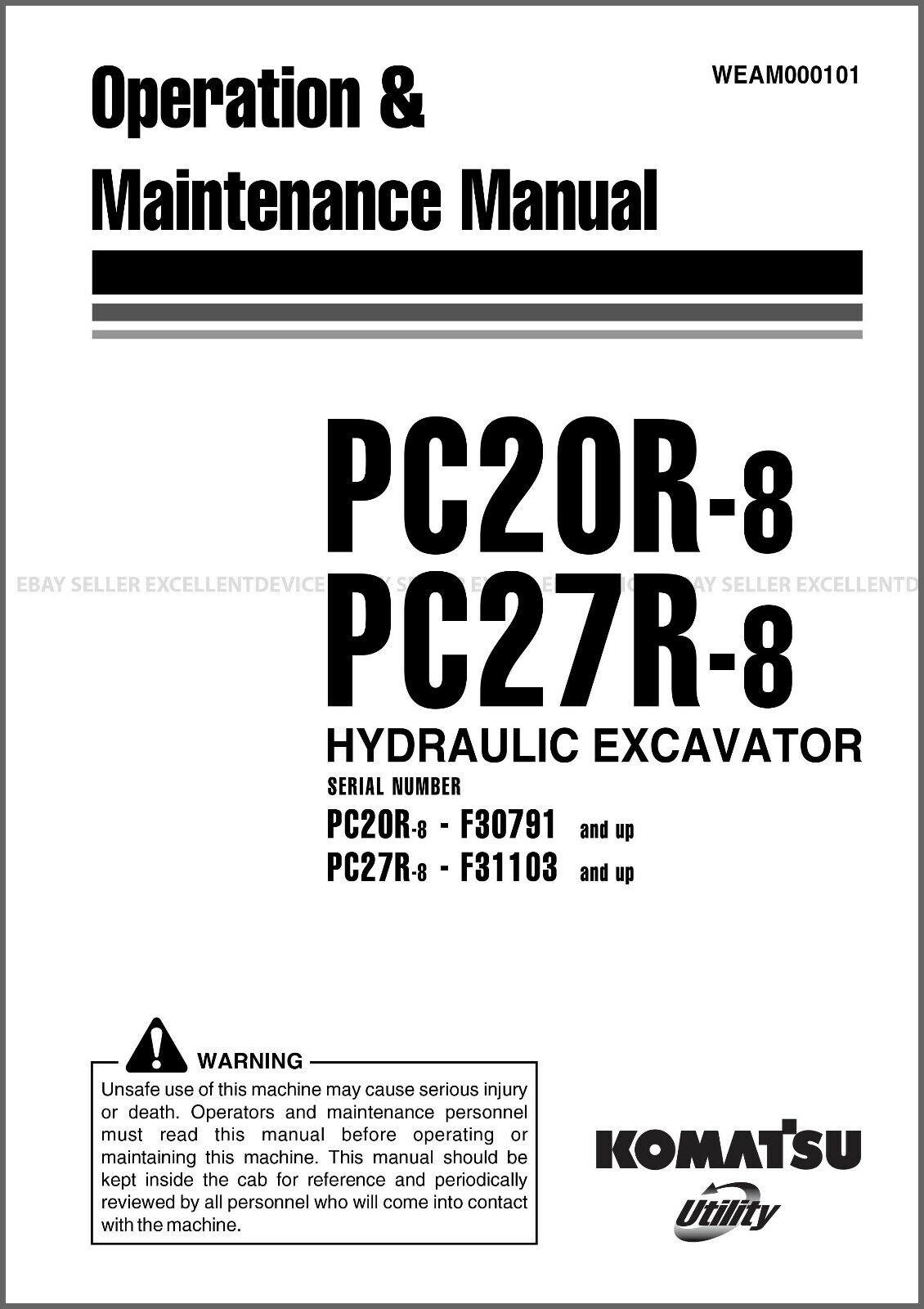 Komatsu PC20R-8 PC27R-8 Printed Operation Maintenance