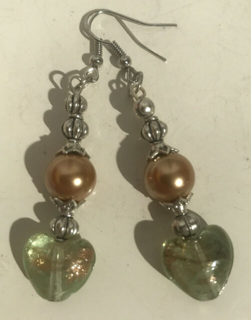 Clear Lamp Work Heart Earrings With Gold Colored Glass ...