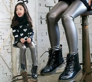 New Girls Kids Leggings Trousers Faux Leather Pants