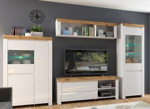 Modern White Gloss Oak Living Room Cabinet Furniture Set Tv Wall Shelf Holten Ebay