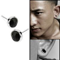 Fashion 1Pair Mens Round Black Agate Silver Ear Studs ...
