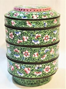 Late 19th C Canton Chinese Enamel Decorated 4 Stack Trinket Boxes Bowls
