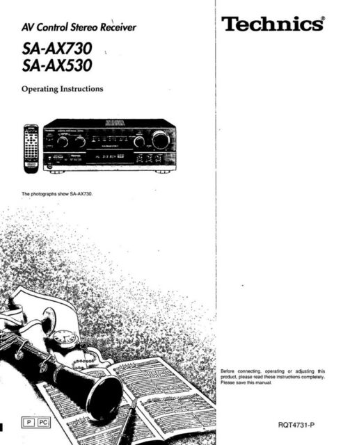 Technics SA-AX530 SA-AX730 Receiver Owners Instruction