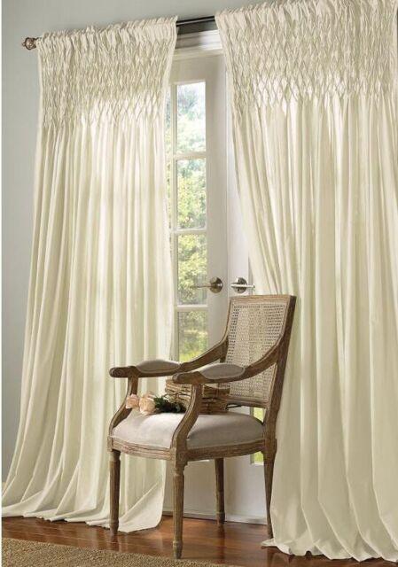 1 panel soft surroundings smocked top gauze curtains color antique 42 w x 84 l