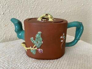 Antique Chinese Yixing Zisha Clay Teapot Colorful Glaze Of Squirrel Bat tree
