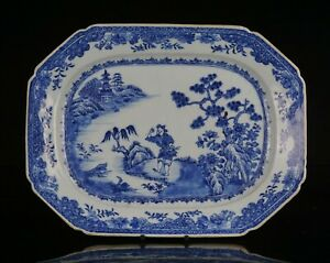V-LARGE Antique Chinese Blue and White Shaped Porcelain Meat Plate 18th C QING