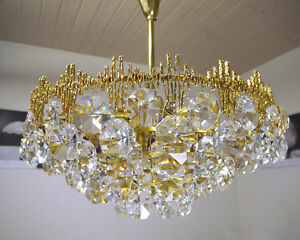 Image Is Loading Faceted Crystal Pendants Chandelier By Palwa Germany 60