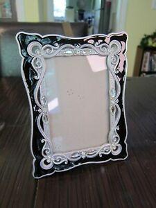 Azzure Home Frames : azzure, frames, Gorgeous, Azzure, Table, Frame, Black, Enamel, Silver, Rhinestone