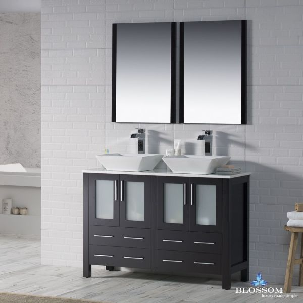 "Blossom 48"" Sydney Double Sink Bathroom Vanity With Vessel"
