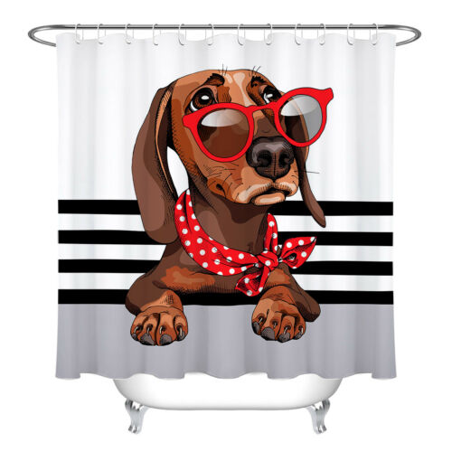 dachshund dog with red sunglasses shower curtain bathroom hooks polyester fabric garden curtains patterer shower curtains