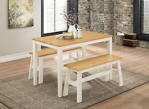 white kitchen bench corner pantry dining table set two benches frame solid natural image is loading