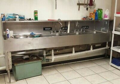 4 bay stainless steel commercial sink for restaurant with faucets and greasetrap ebay