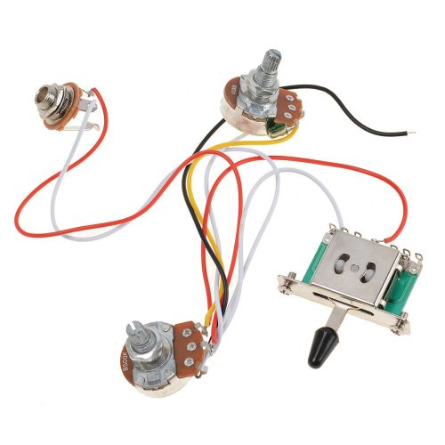 small resolution of 3 pickup guitar wiring harness prewired 1 volume 1 tone 500k pots 5 way switch