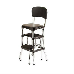 retro chair stool leather office new vintage kitchen bar step black cosco 11 image is loading