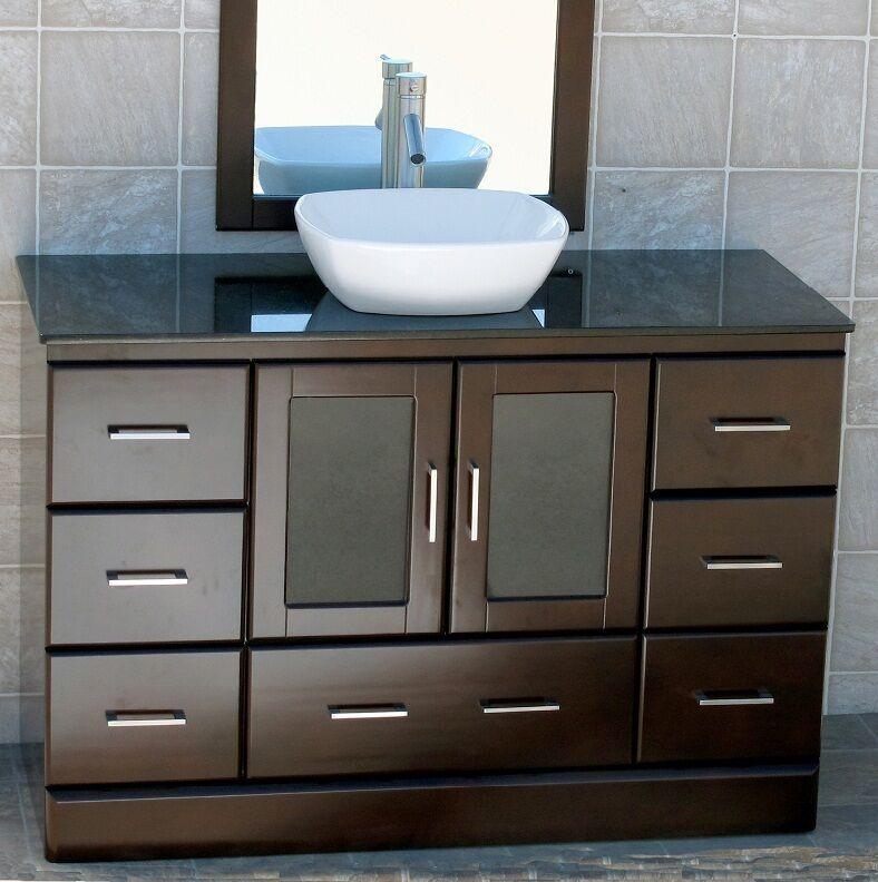 48 Bathroom Vanity 48 Inch Cabinet Black Granite Top Ceramic Vessel Sink M7068 For Sale Online