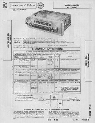 1958 MOPAR 922 RADIO SERVICE MANUAL PHOTOFACT SCHEMATIC