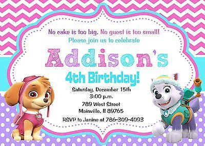 paw patrol skye everest girl birthday party invitation ebay