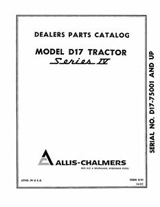 Allis Chalmers D17 Series 4 Tractor Parts Catalog Book