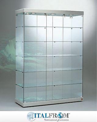 verre vitrine grand verre affichage en faux cuir avec des lumieres italfrom ebay
