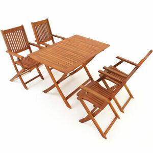 details sur ensemble meuble salon jardin table 4 chaise pliante mobilier bois naturel acacia