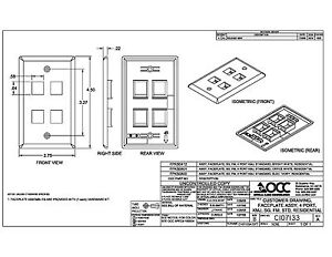 OCC SMP Keystone flush Wall face Plate 4/Quad mounting