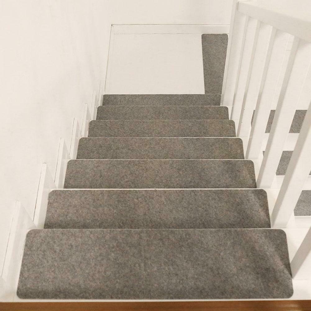 15Pcs Adhesive Carpet Stair Treads Mat Non Slip Staircase Rug | Best Carpet For Stairs | Indoor Outdoor | Stairway | Decorative | Traditional | Carpet Grey Carpet Up Centre