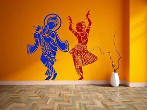 krishna wall sticker radha vinyl hindu god decal dancing stencil