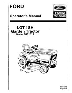 NEW HOLLAND Ford LGT 18H Lawn & Garden Tractor OPERATORS