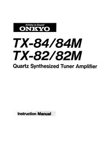 Onkyo TX-84 Tuner Owners Manual