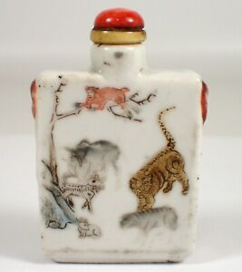 SUPERB Antique Chinese Famille Rose Porcelain Snuff Bottle 12 Zodiac Animals