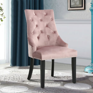 bedroom chair pink velvet white scoop dining chairs studded occasional chrome back ring image is loading