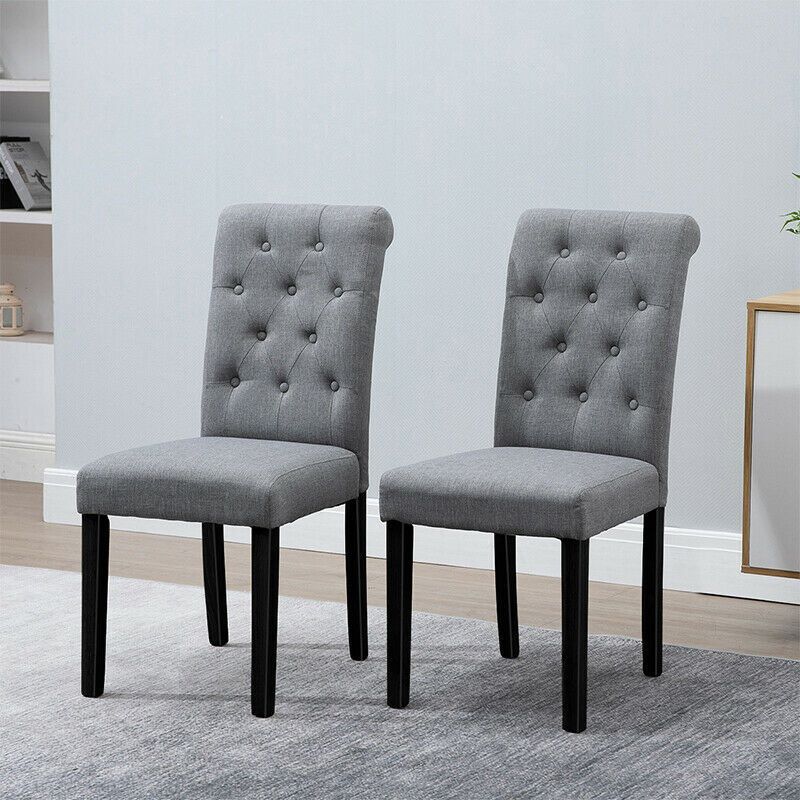 4x dark grey dining chairs fabric padded button tufted high back kitchen room bn