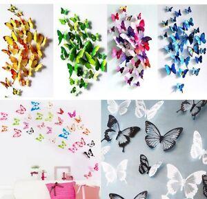 3D Schmetterlinge Blumen 12er18er Dekoration Wand Tattoo Wandsticker Wand Deko  eBay