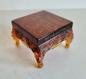 MOST UNUSUAL BEAUTIFUL OLD CHINESE GLASS STAND - NUMBERED AND SIGNED - VERY RARE