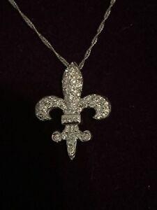 New Orleans Saints Jewerly : orleans, saints, jewerly, WHITE, ORLEANS, SAINTS, FLEUR, DIAMOND, 1/2CTW, NECKLACE