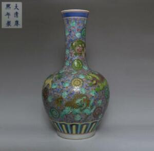 OLD CHINESE FAMILLE ROSE PORCELAIN VASE KANGXI MARKED 42CM (538)
