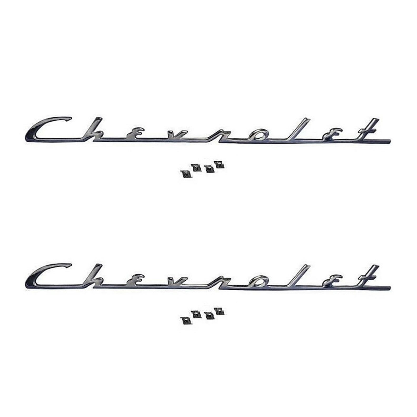 1954 54 Chevy Chevrolet Chrome Trunk Emblem Script Bel Air