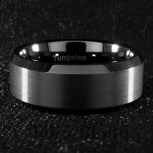 8mm Tungsten Carbide BLACK Wedding Band Engagement Bridal