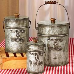 Canisters Kitchen Island Legs Country Sets Rustic Home Decor Galvanized Steel Living Set 3 Metal Primitive Bathroom Storage