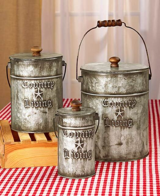 canisters kitchen grohe faucet replacement parts country sets rustic home decor galvanized steel living set 3 metal primitive bathroom storage