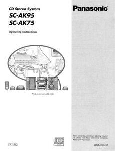 Panasonic SC-AK75 SC-AK95 CD Stereo System Owners